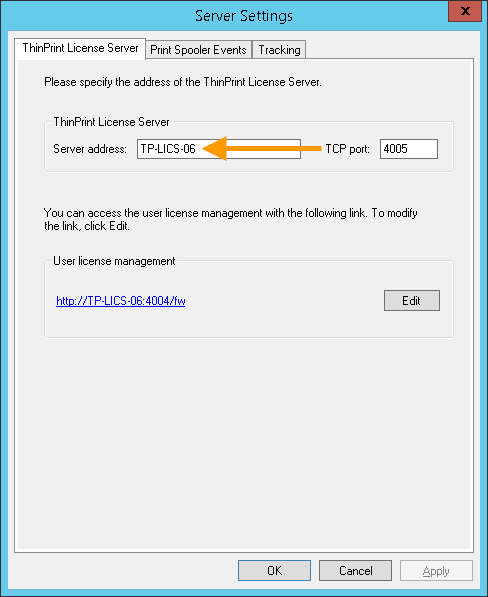 License Server settings