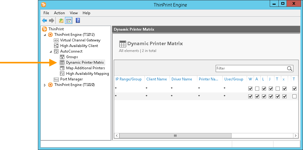 Dynamic Printer Matrix in the ThinPrint Engine configuration