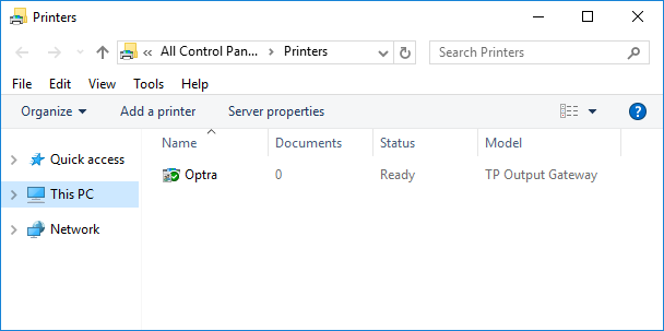 printer created, shared and connected to a ThinPrint Port (in this example: Optra)