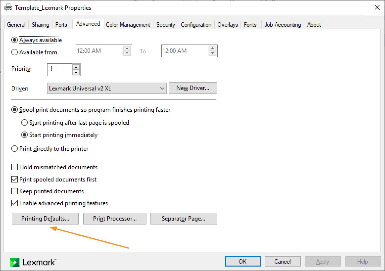 Apply Printing Defaults