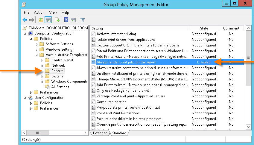 Group policy – Always render print jobs on the server