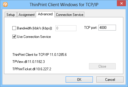 ThinPrint Client Manager for Windows: advanced options