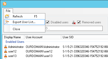 exporting the user list