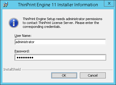 Entering admin credentials for the license server, if required