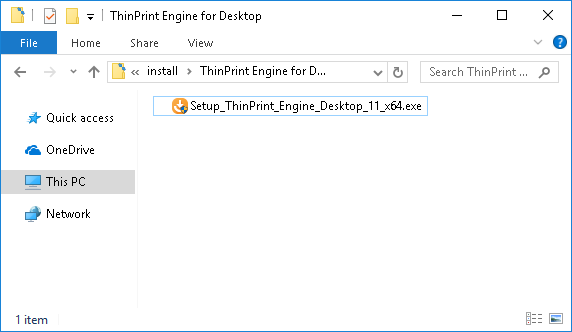 start ThinPrint Engine for Desktop installation program
