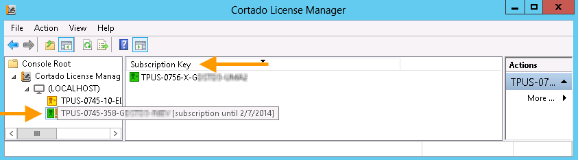 activated license with subscription key and expiry date