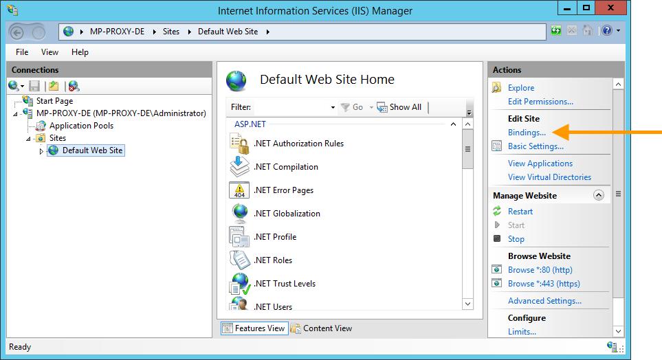 Default Web Site: select Bindings