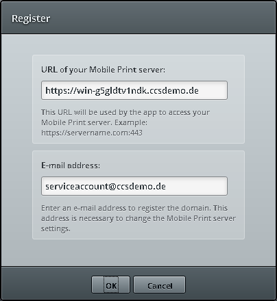 Entering the Mobile Session Print server address and an administrator account